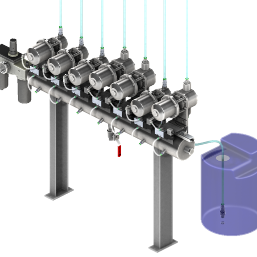 Esempio di applicazione delle pompe PCPP su struttura di sostegno/polmone d'aria